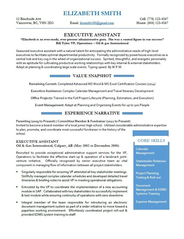 Vancouver Resume Services - Executive Assistant Resume Sample