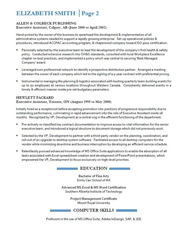 Resumes Services Vancouver - Sample Executive Assistant Resume - Page 2