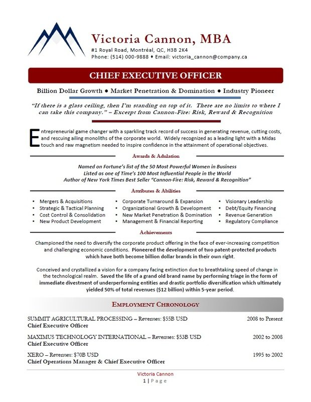 Award-Winning Executive Resumes Vancouver - Executive Resume Sample